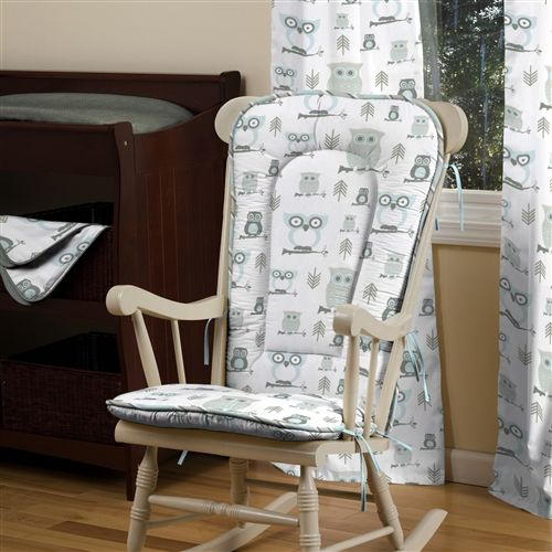 Mist and gray owls rocking chair pad