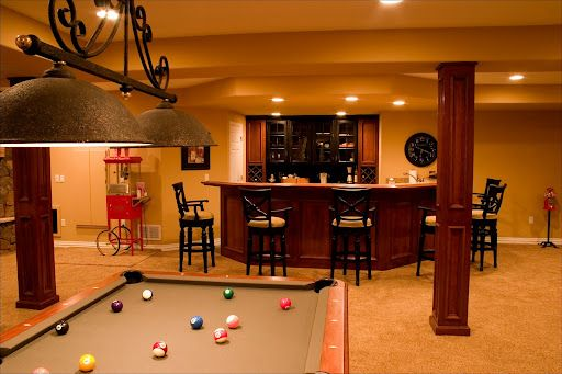 Game room and bar in basement awesome things i want in my house p - Home bar room ideas ...