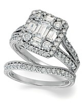 Emerelle Collection Diamond Ring Set, 14k White Gold Emerald and Round-Cut Diamond Ring Set (2-1/4 ct. t.w.)