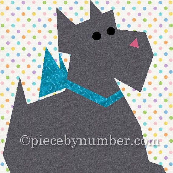 Quilt Pattern For Scottie Dog : Scottie Dog quilt block pattern, paper pieced quilt patterns, instant?