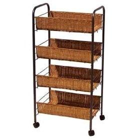 Rolling 4 Tier Wicker Storage Cart, (basket, basket drawers, bookcase ...