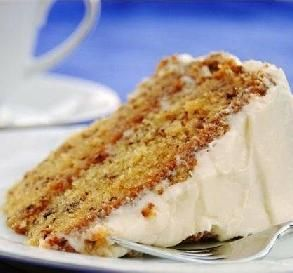 """Best Ever Banana Cake: Another pinned says:  """"So moist and yummy...a dense cake, similar in texture to a carrot cake. It's better each day it sits, and I always make this cake at least the day before I need it""""."""