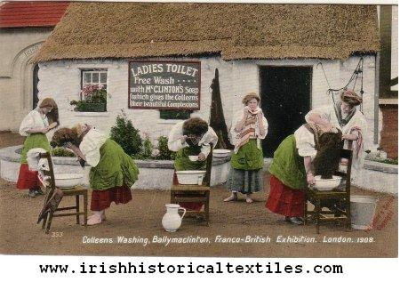 """The """"Irish"""" village at the 1908 Franco-British Exhibition was called Ballymaclinton, and 150 women were hired (they had to audition, and were judged on their 'Irish beauty, charm, and expertise') as """"colleens"""" to exhibit Irish everyday life. #irish #history #ireland"""