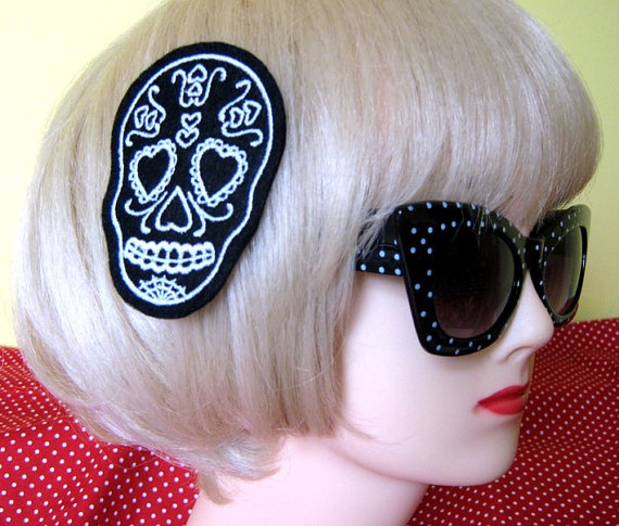 White Sugar Skull hair clip more and custom colors by DollyCool, $12.00