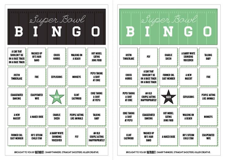 Love this printable Super Bowl Ad Bingo from @BAYONETbranding