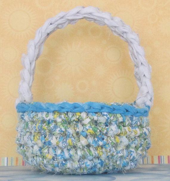 Rag Crochet Spring/Gift Basket With Handle