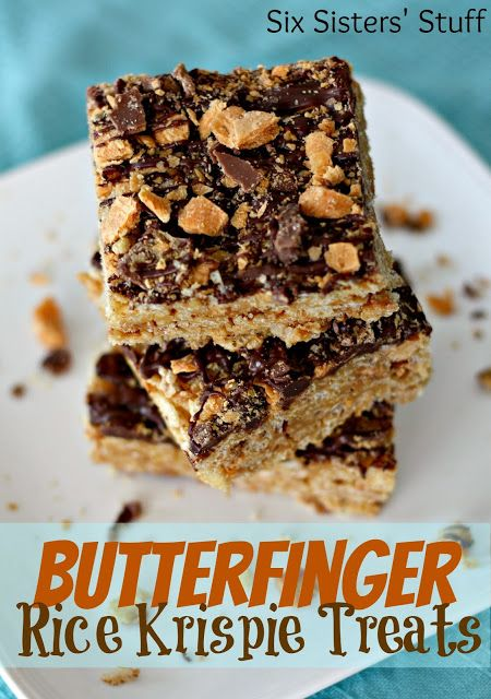 Butterfinger Rice Krispie Treats from SixSistersStuff.com. Easy to ...