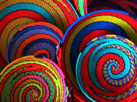 South African baskets woven from recycled telephone wire