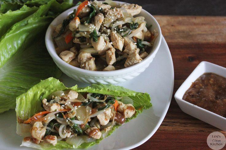 Thai Chicken Lettuce Wraps with Paleo 'Peanut' Sauce | Recipe