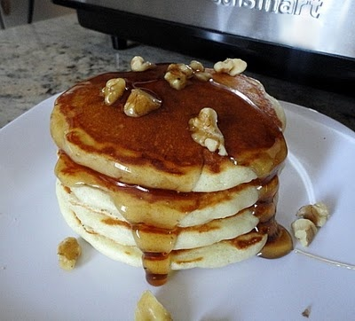 Banana Buttermilk Pancakes with Toasted Walnuts and Maple Syrup