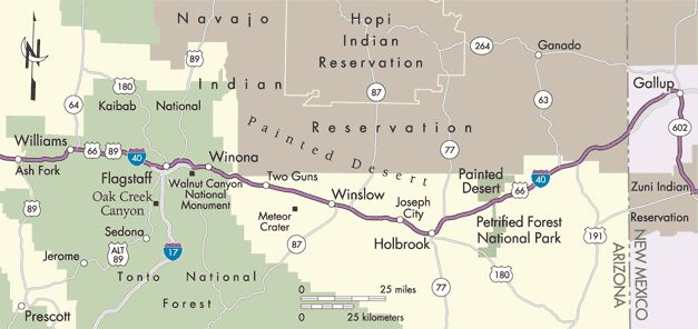 Route 66 Ash Fork Arizona To Gallup New Mexico Map