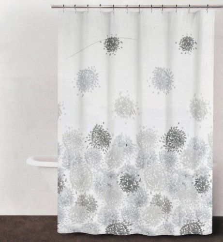 DKNY Brushstroke Floral Periwinkle Gray Brown Fabric Shower Curtain ...