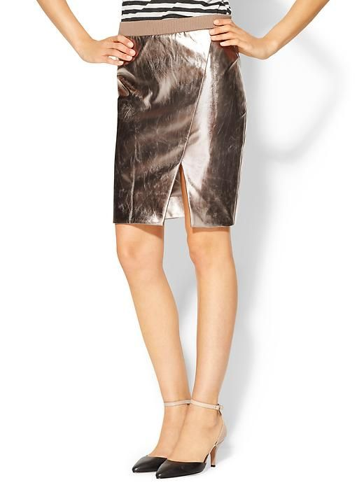 Tinley Road Metallic Faux Leather Skirt - Rose gold  @Piperlime®®
