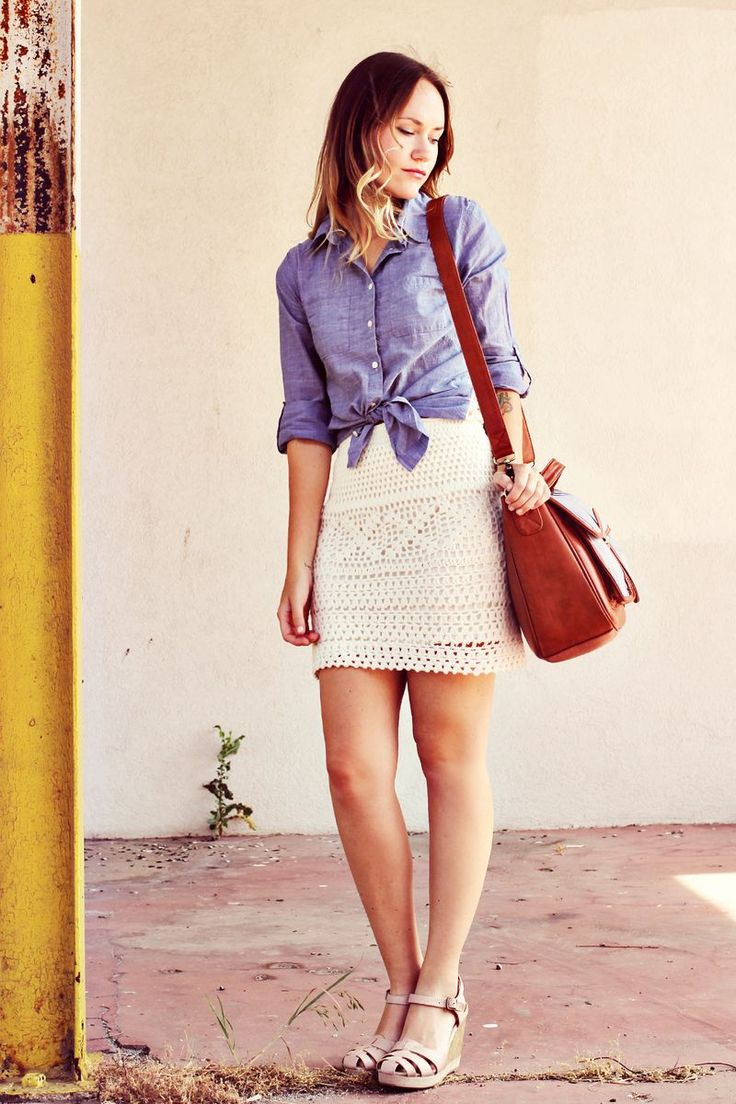 Chambray button down and crochet skirt