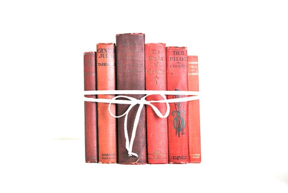 Red/Coral/Pink Book Collection - Vintage Books Home Decor, via Etsy.