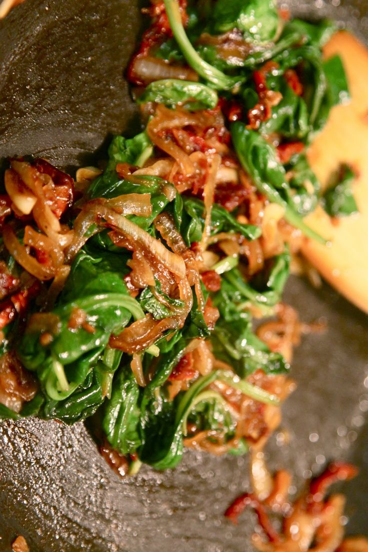 Spinach With Fried Garlic And Caramelized Onions Recipes — Dishmaps