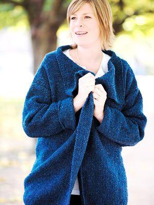 Plus Size Knitting Patterns : plus-size moss-stitch jacket to knit Knit / Crochet Pinterest