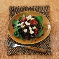 Warm Puy Lentil Salad with Baby Spinach and Goat's Cheese