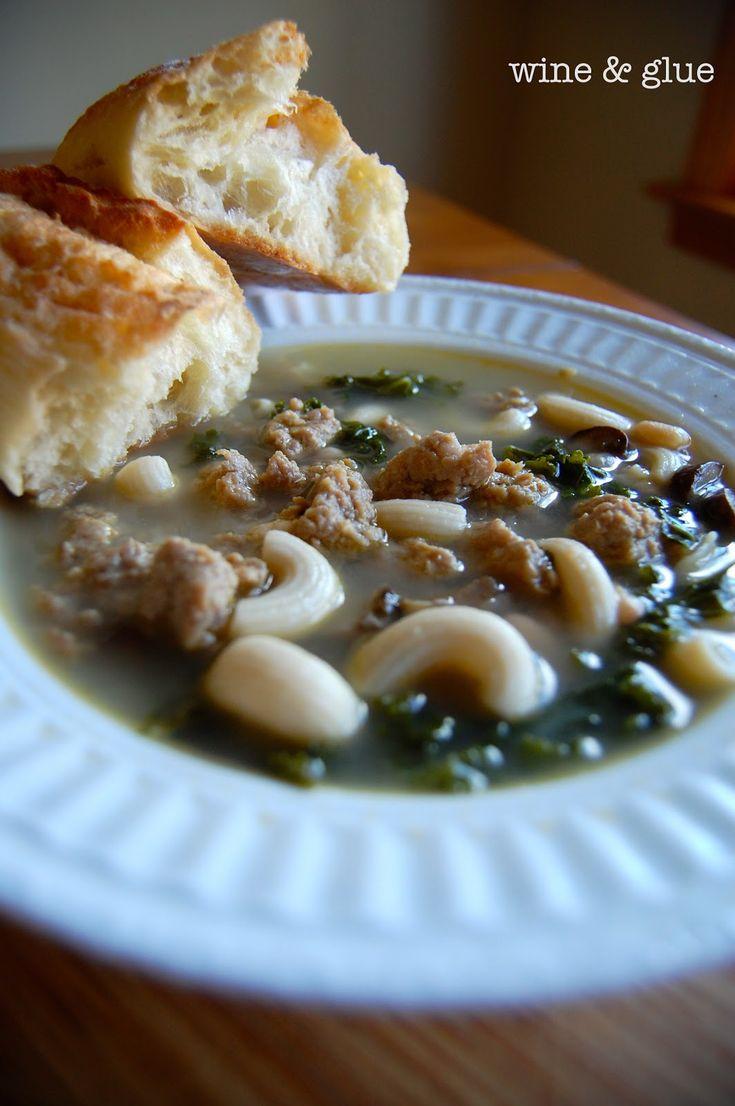 : Warm Sausage & Kale Soup ] Made with: sweet Italian turkey sausage ...