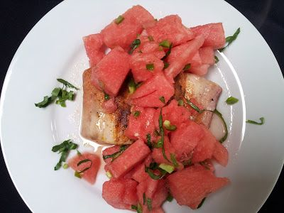 red or green?: Spicy Watermelon Salad with Grilled Mahi Mahi