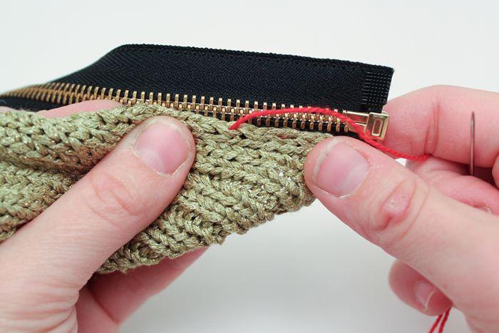 Crochet Zipper Stitch : Running basting stitch-- zipper into sweater clear directions