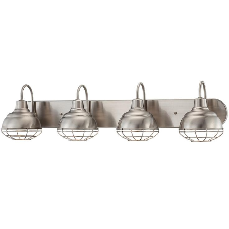 Vanity Lights Industrial : Industrial Cage 4 Light Vanity Light Available in 2 Colors: Bronze, S?