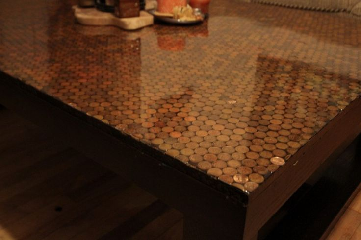 copper penny table  DIY  Pinterest