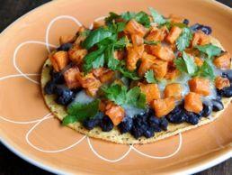 Black Bean & Roasted Sweet Potato Tostadas