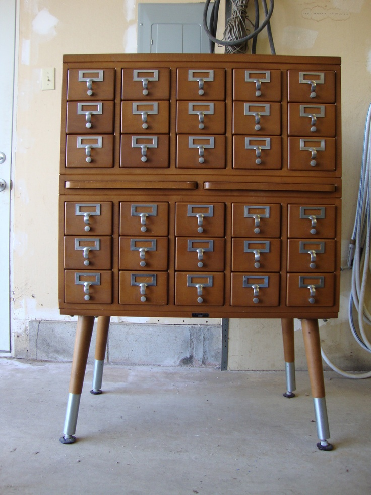 Vintage Industrial Worden Co 30 Drawer Library Card Catalog Cabinet
