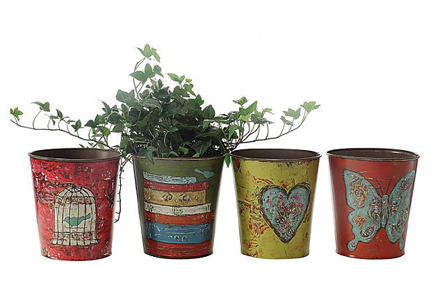 Holy Shmoly!!! My little e studio tins!!!!  Tin Planters, Asst. of 4 on OneKingsLane.com