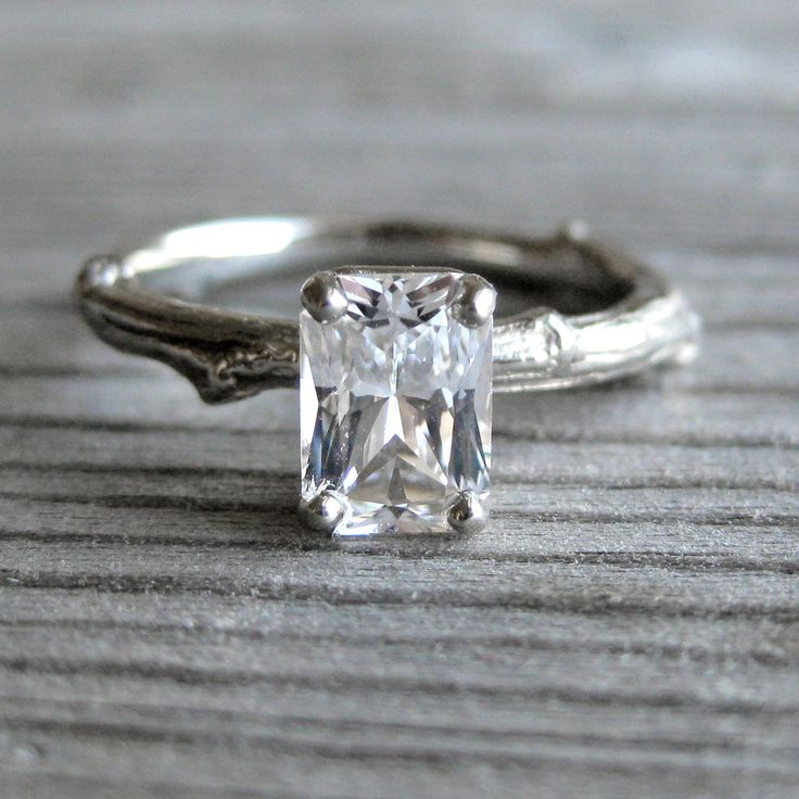 emerald cut white sapphire twig engagement ring one carat
