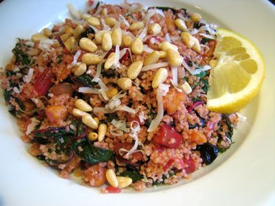 North African-inspired couscous with chard, roasted chickpeas ...