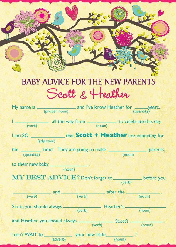 birds baby shower mad lib spring baby shower personalized mad lib