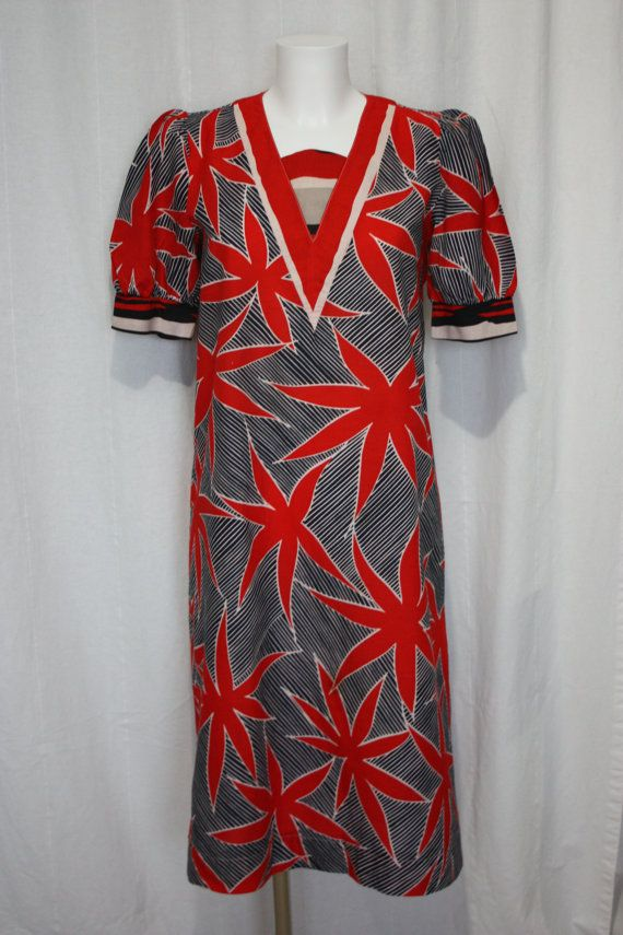 60s mod dress made in italy red novelty print midi dress holiday