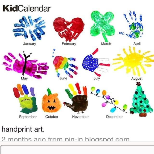 Monthly handprint art | Preschool: Handprint Art | Pinterest
