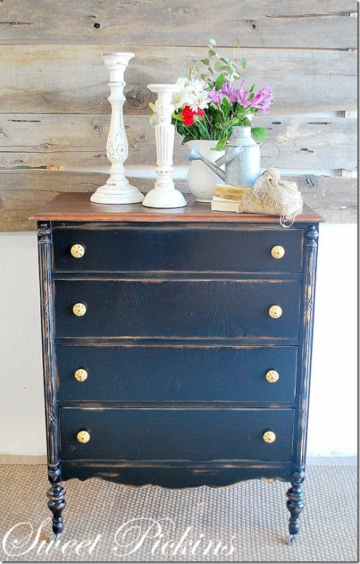 Navy Gold Repainting Distressing Furniture Pinterest
