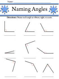 Naming angles worksheet grade 4