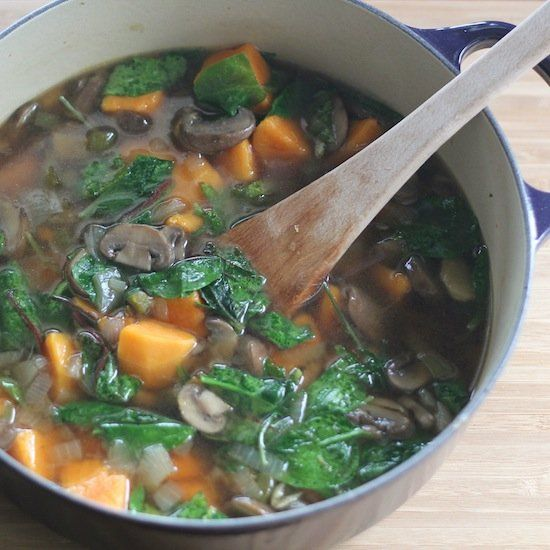 ... Brothy Mushroom Soup Recipe with hearty greens and sweet potatoes