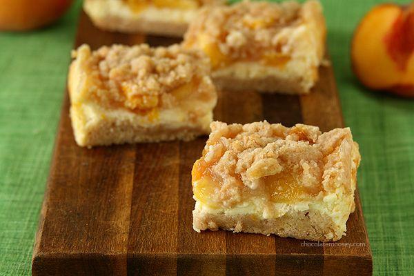 Peach Cheesecake Crumb Bars | www.chocolatemoosey.com @Carla ...