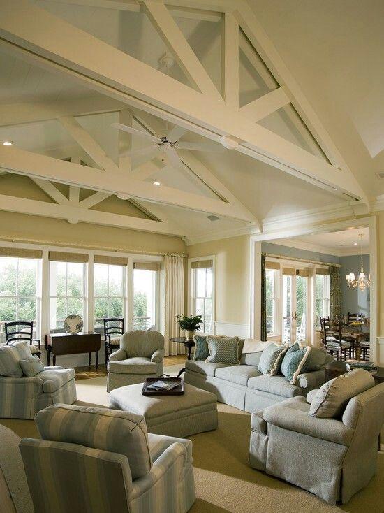 Exposed beams ceilings pinterest for Exposed beam ceiling living room