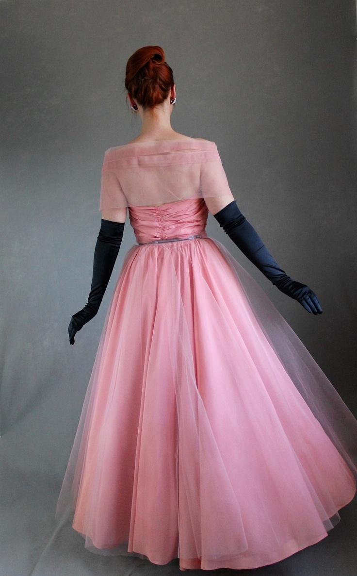 Vintage 1950s pink party dress mad men weddings 50s formal dress