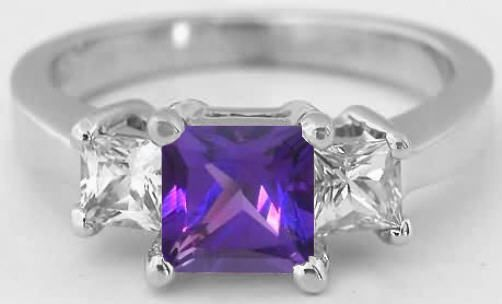 Princess Cut Amethyst Engagement Ring