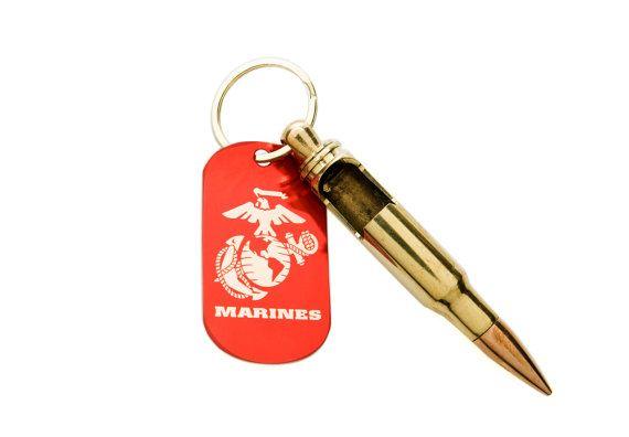 usmc keychain bullet bottle opener with usmc dog tag add custom engr. Black Bedroom Furniture Sets. Home Design Ideas
