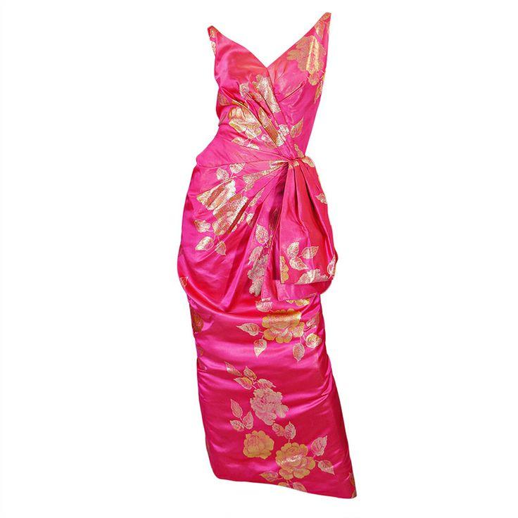 Stunning 1950s Pink Silk Brocade Evening Gown