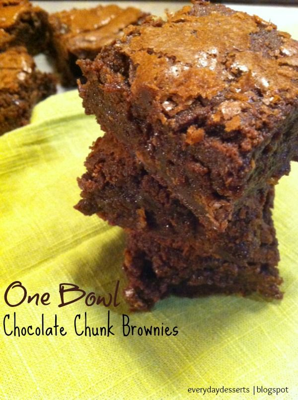 One Bowl Chocolate Chunk Brownies | Brownie/Bar Recipes | Pinterest