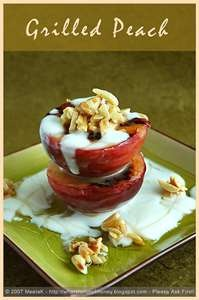grilled peach with honey, yogurt, and toasted almonds! Walnuts would ...