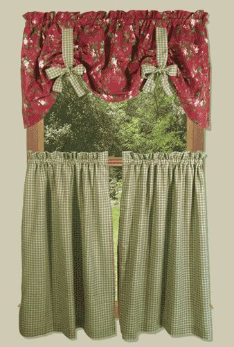 Climbing roses country kitchen curtain ideas para cortinas pinterest - Country kitchen curtains and valances ...