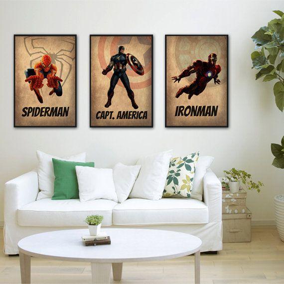 Superheroes set of 3 spiderman captain america ironman livi - Comic themed bedroom ...