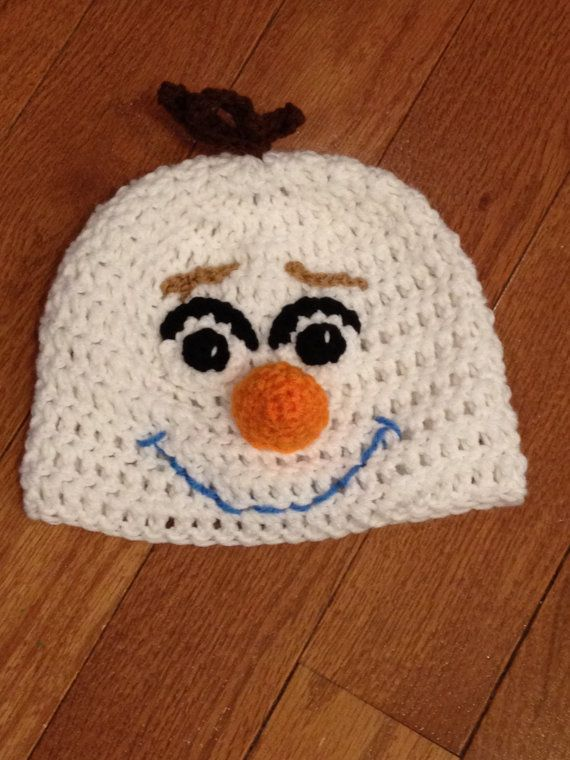 Knitting Pattern For Olaf The Snowman : Olaf the Snowman from Frozen Beanie Skullcap Hat-all sizes ...