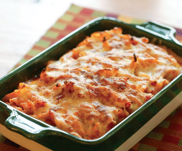 baked penne with rosemary and three cheeses